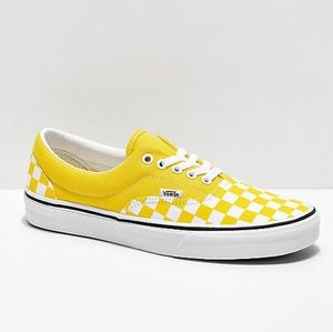 Vans Mens Era Checkeredboard Yellow Low Top